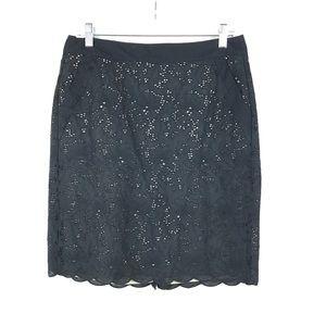 Loft Sz 8 Black Lace Overlay Nude Pencil Skirt 131